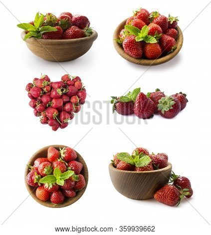 Strawberries Isolated On White Cutout. Berry With Copy Space For Text. Various Fresh Summer Fruits I