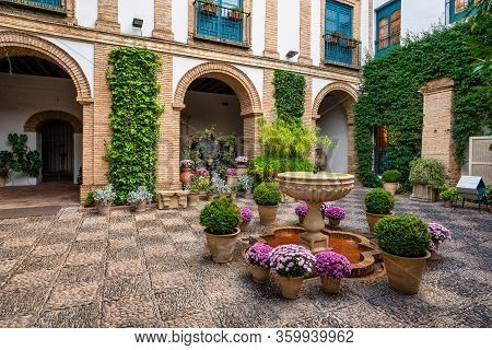 Cordoba, Spain - November 03, 2019: Courtyard Garden Of Viana Palace In Cordoba, Andalusia. Built In