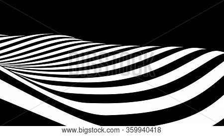 Abstract Wave Of White And Black Curved Lines. Hallucination. Optical Illusion. Twisted Illustration