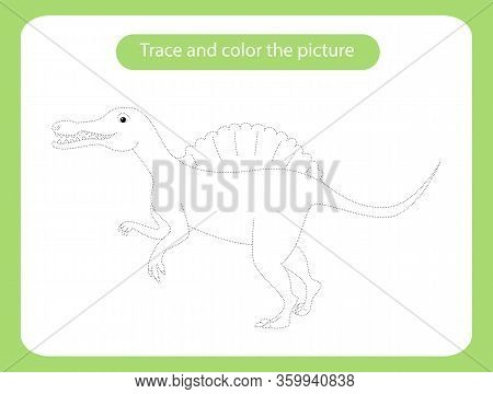 Spinosaurus Dinosaur. Trace And Color The Picture Children S Educational Game. Handwriting And Drawi