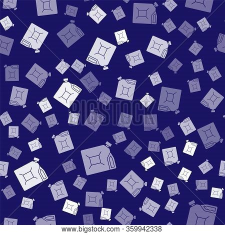 White Canister For Gasoline Icon Isolated Seamless Pattern On Blue Background. Diesel Gas Icon. Vect