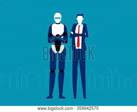 Humanoid Robot And Businessman. Futuristic Cartoon Character Design. Flat Vector Illustration Style