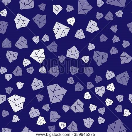 White Outgoing Mail Icon Isolated Seamless Pattern On Blue Background. Envelope Symbol. Outgoing Mes