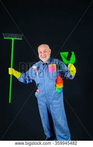 Cleaning Equipment. Old Man With Broom. House Cleaning. Broom. Professional Cleaning. Cleaning Servi