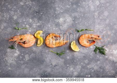 Boiled Vannamei Shrimps, Whiteleg Shrimp, Pacific White Shrimp Or King Prawn On Gray Background. Top