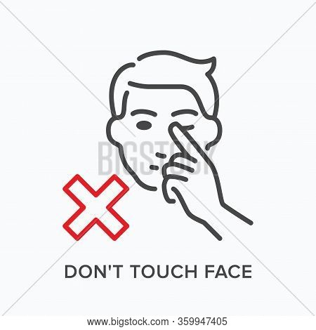 Touching Face Line Icon. Vector Outline Illustration Tacking Hands Away From Head. Warning Hygiene I