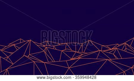 Abstract Blue And Pink Futuristic 3d Mesh. 3d Space Landscape Background. Vector Grid. The Style Of