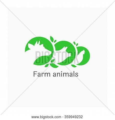 Logo With Farm Animals. Vector Illustration Of Cow, Pig And Chicken. Agricultural Or Livestock Symbo