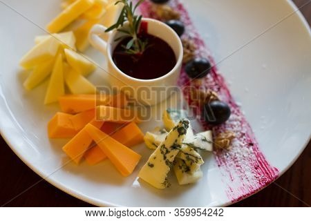 Fruit And Cheese Salad White Plate On Table