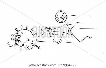 Vector Cartoon Stick Figure Drawing Conceptual Illustration Of Man Chasing Running Coronavirus Covid