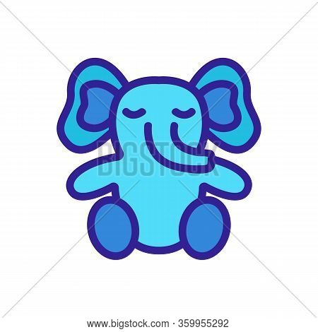 Elephant Toy Icon Vector. Elephant Toy Sign. Color Contour Symbol Illustration