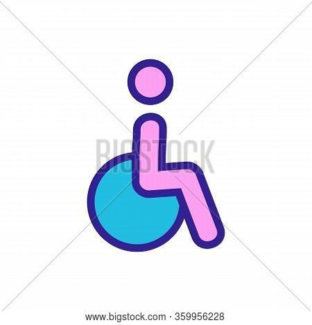 Disabled Person In A Wheelchair Icon Vector. Disabled Person In A Wheelchair Sign. Color Contour Sym