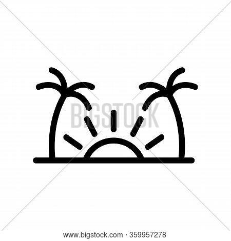 Sunset Palms Icon Vector. Sunset Palms Sign. Isolated Contour Symbol Illustration