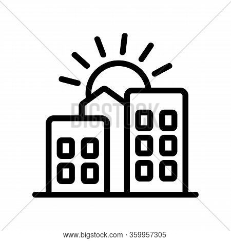 Sunset City Home Icon Vector. Sunset City Home Sign. Isolated Contour Symbol Illustration