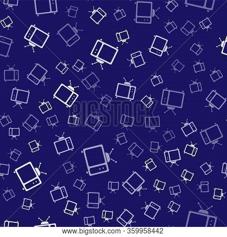 White Retro Tv Icon Isolated Seamless Pattern On Blue Background. Television Sign. Vector Illustrati