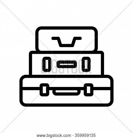 Stack Suitcase Icon Vector. Stack Suitcase Sign. Isolated Contour Symbol Illustration