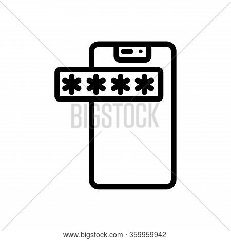 Password Phone Icon Vector. Password Phone Sign. Isolated Contour Symbol Illustration