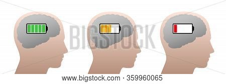 Full, Half Full And Empty Battery In A Human Head. Symbol For Mental Energy Reduction, Decreasing Co