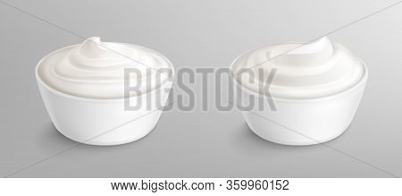 Bowl With Sauce, Cream, Mayonnaise Or Yogurt. White Porcelain Cup With Fresh Dairy Product, Creamy C