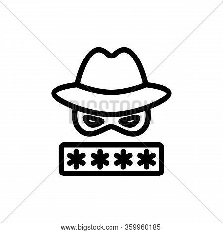 Password Hacker Icon Vector. Password Hacker Sign. Isolated Contour Symbol Illustration