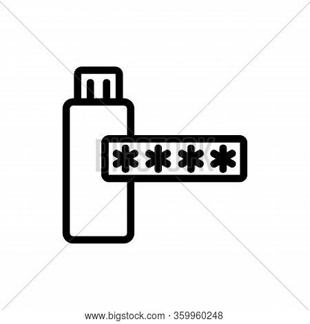 The Password On The Flash Card Icon Vector. The Password On The Flash Card Sign. Isolated Contour Sy