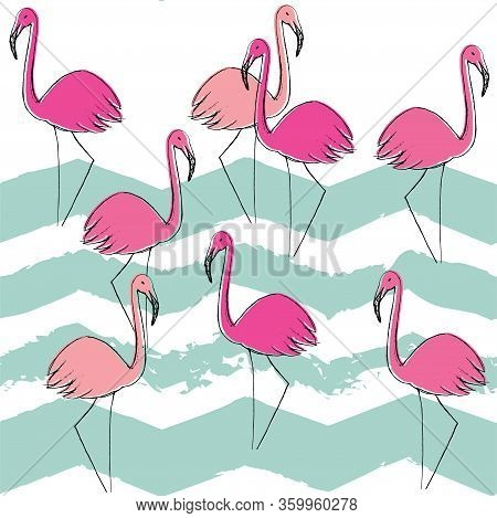 Flamingo Pattern, Vector, Illustration. Vector Seamless Pattern With Flamingo And Zig-zag Lines.pink