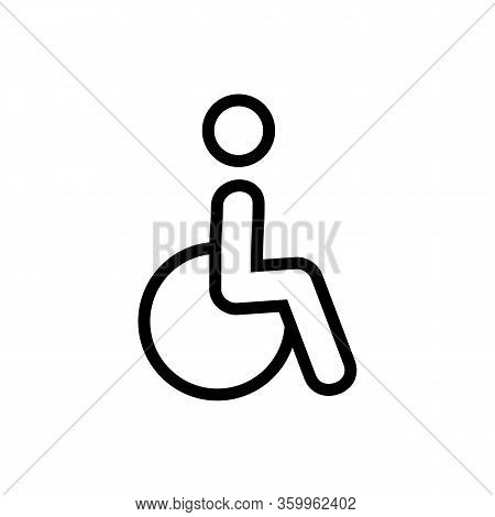 Disabled Person In A Wheelchair Icon Vector. Disabled Person In A Wheelchair Sign. Isolated Contour