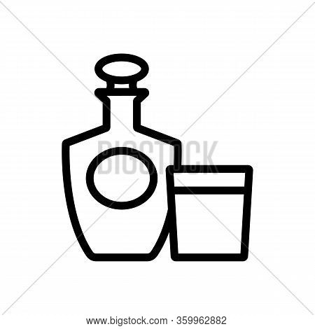 Brandy Bottle Glass Icon Vector. Brandy Bottle Glass Sign. Isolated Contour Symbol Illustration