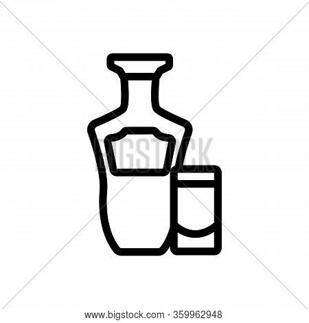 Tequila Bottle Glass Icon Vector. Tequila Bottle Glass Sign. Isolated Contour Symbol Illustration