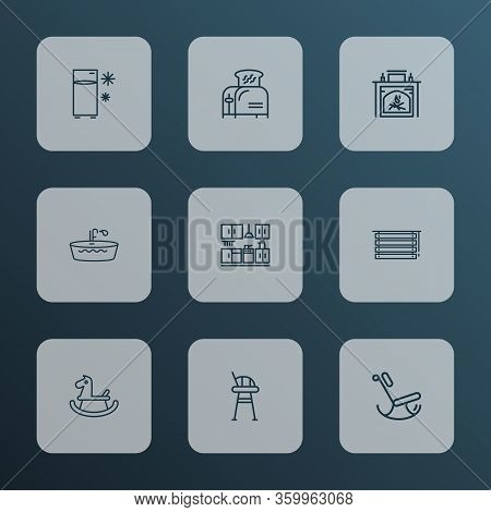Home Decoration Icons Line Style Set With Bathtub, Tall Chair, Toaster And Other Furniture Elements.