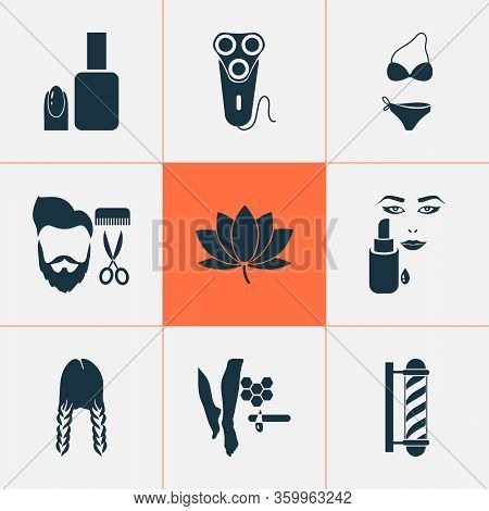 Beautiful Icons Set With Barber Pole, Swimsuit, Lotus Flower And Other Concealer Elements. Isolated