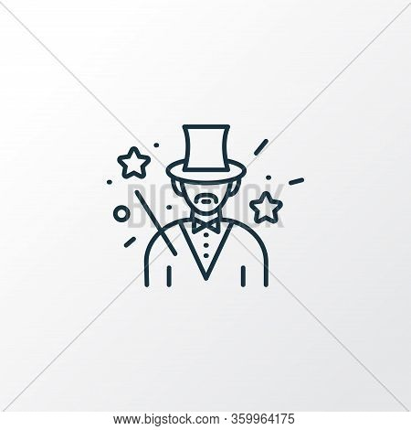 Magician Icon Line Symbol. Premium Quality Isolated Illusionist Element In Trendy Style.