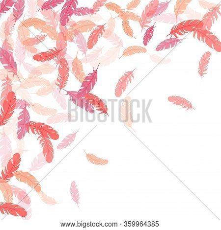 Glamour Pink Flamingo Feathers Vector Background. Plumage Bohemian Fashion Shower Decor. Falling Fea