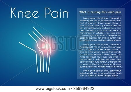 Knee Pain Linear Icon On Blue Background. Vector Abstract Minimal Illustration Of A Leg With Red Spo