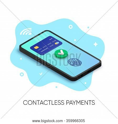 Mobile Contactless Payments Banner Isometric Design. 3d Pay Online Concept With Credit Card, Green Y