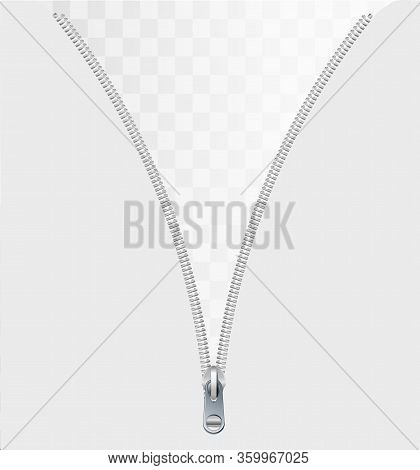 Zipper Concept As An Open Interlocking Metal Fastener On Clothing Or Garment Textile As A Symbol For
