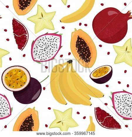 Vector Seamless Pattern With Fruits. Fresh Bananas, Papaya, Carambola, Passion Fruit And Pitahaya Ba
