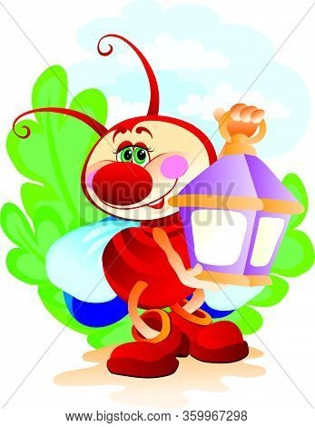 Cute Character Firefly Holds In Its Paws A Huge Lantern On A Background Of Grass, Vector Illusion, E