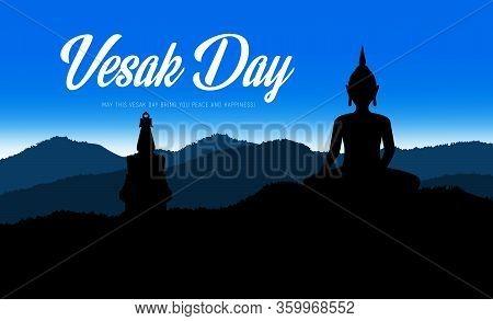 Buddha Statue Of Buddhism Religion Vesak Day Holiday. Vector Silhouettes Of Buddha, Thai Monk Temple