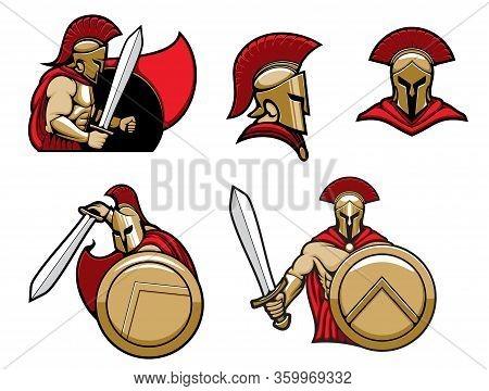 Spartan Warrior In Helmet With Shield And Sword, Vector Heraldic Icons. Greek Spartan Or Roman Gladi