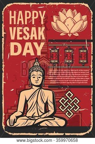 Vesak Day Holiday Of Buddhism Religion. Vector Buddha Statue, Lotus Flower, Buddhist Monk Prayer Whe