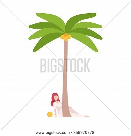Young Woman Sitting Behind Tropical Palm Tree Vector Illustration