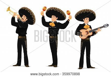Mariachi Mexican Musicians Band. Cartoon Vector Characters Playing On Guitar, Trumpet And Maracas In