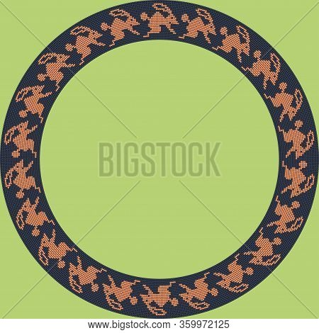 Norwegian Traditional Ornament. Round Frame With Zoomorphic Ornament. Knitting Pattern. Vector.