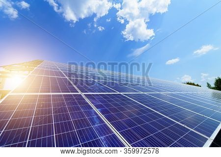 Solar Energy Panels. Photovoltaic Power Supply Systems. Solar Power Plant. The Source Of Ecological
