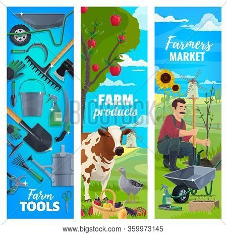 Farming And Agriculture, Vector Banners Of Cattle Farm And Farmer Agrarian Tools. Cow And Poultry Go