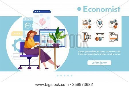 Vector Banner Economist With Linear Icons Set