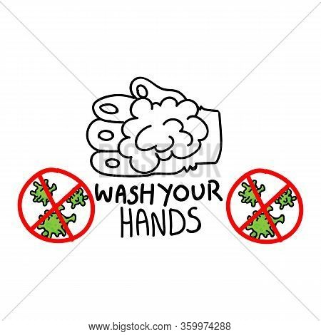 Corona Virus Covid 19 Wash Your Hands Educational Banner Vector. Cute Bunny Paw For Kids Friendly Me