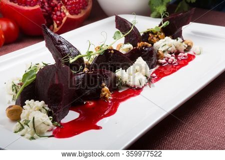 Beetroot Salad With Cottage Cheese And Nuts