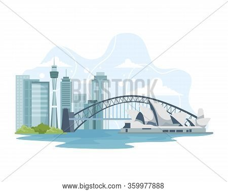 Vector Illustration Australia Skyline And Landmark. Travel To Australia, Advertising Illustration, T